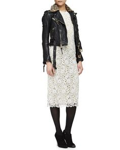 Leopard-Print Fur Collar Leather Biker Jacket & Short-Sleeve Floral Lace Midi Dress by Burberry Prorsum at Neiman Marcus.