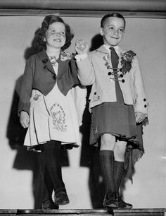 Young girl and boy, Irish dancing - Darling; love their smiles! <> (yesteryear photo, vintage, celtic, celts, Ireland, St. Patrick's Day)