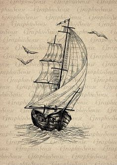 Old Sailing Ship and Seagulls - Schiff Pencil Art Drawings, Cool Art Drawings, Art Drawings Sketches, Tattoo Sketches, Boat Drawing, Ship Drawing, Old Sailing Ships, Nautical Art, Nautical Tattoos
