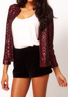 Shining Sequins Design Blazer - Red #fashion #stylish #dress #lookbookstore #tops #bottoms #outerwears