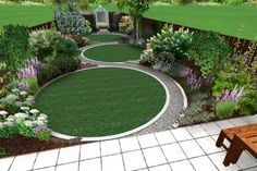 Three diminsihing circular lawns separated by an 'S' shaped path in a graphic design for a triangular garden.
