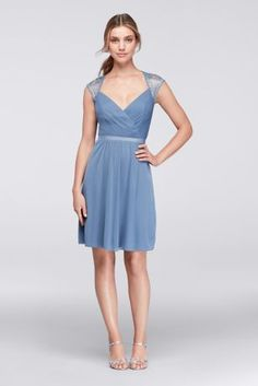 0ca812a7d6c The bodice of this short mesh bridesmaid dress is a thing of beauty  It  features