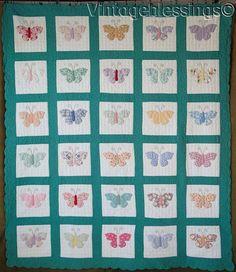 "www.Vintageblessings.com Mint! Vintage 30s Appliqued Feedsack Butterflies QUILT 83x72"" Never Used"