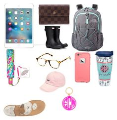 """College must haves"" by savannah-cantrell on Polyvore featuring Louis Vuitton, The North Face, Hunter, Jack Rogers, Warby Parker, LifeProof, Vineyard Vines, Tervis, BaubleBar and women's clothing"