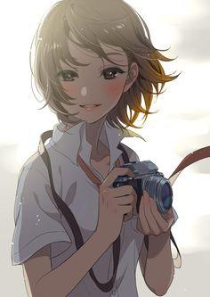 Anime girl holding a camera
