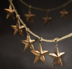 Rustic Star Garland in Brass - modern - accessories and decor - Restoration Hardware Noel Christmas, Country Christmas, White Christmas, Vintage Christmas, Christmas Crafts, Christmas Decorations, Christmas Ideas, Western Christmas, Christmas Garlands