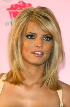 "I hate that I'm pinning anything Jessica Simpson, but cute hair. I'd like it a little less ""newscaster"" though..."