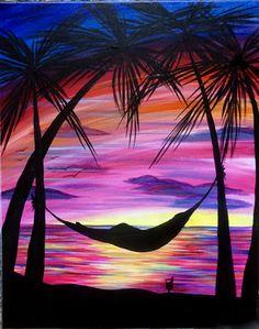 Staycation at Tony Romas - St. Albert - Paint Nite Events near Edmonton, AB> Acrylic Painting Canvas, Canvas Art, Paint And Sip, Tropical Art, Painting & Drawing, Shadow Painting, Easy Paintings, Paint Party, Beach Art