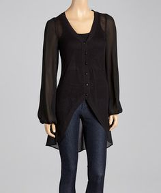 This Black Hi-Low Cardigan by Andrée is perfect! #zulilyfinds