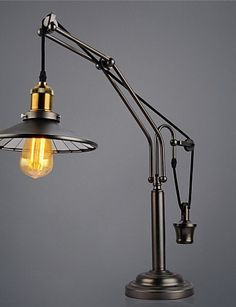 Sepfortn Vintage chapado de polea de elevación Industrial Lámpara de mesa ojo-protectings lámpara de escritorio/ Arc/clásico tradicional mesa metálica luces