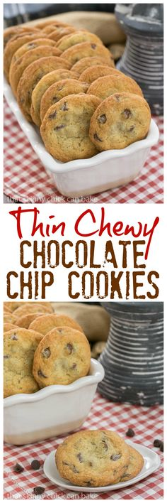 Thin Chewy Chocolate Chip Cookies | For those times you want a bigger, thinner, chewy cookie! @lizzydo