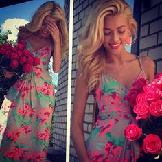 floral dress. pink and teal.