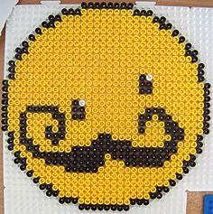 Smiley moustache hama beads by Les loisirs de Pat