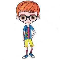 Nerdy Ferdy Single Clipart Design, Machine Embroidery Designs, Smurfs, Nerdy, Clip Art, This Or That Questions, Specs, Fictional Characters, Fantasy Characters