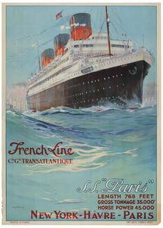 French Line - Cie Gle Transatlantique - S.S. Paris - 1939 - illustration : Albert Sebille -