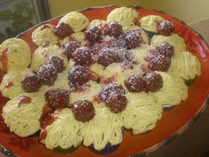 Spaghetti and Meatball Cupcakes. My 6 year old has requested these for his birthday 3 years in a row.  Ever the trickster, he loves the reaction these cupcakes get.  I highly recommend the Hello, Cupcake books/blog, it is full of great ideas that anyone can do.