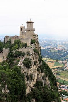 mountaintop in the Republic of San Marino, which is completely surrounded by Italy