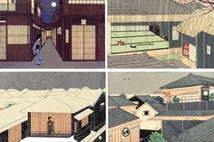 Settai Komura Japanese Art Styles, Japanese Prints, Saitama, Art Japonais, Art Et Illustration, Japanese Architecture, Japan Art, Cool Items, Vintage Japanese