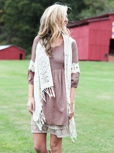 Layers for Fall! Add a slip and a vest or cardigan to any dress!