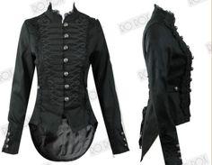 Womens-Black-Steampunk-Emo-MCR-Punk-Gothic-Military-Parade-Goth-Tail-Coat-Jacket