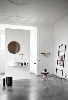 Contemporary eclectic bathroom with concrete floor   Est Magazine