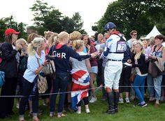 GBR eventing fans swarming William Fox-Pitt (aka Foxy!) after XC. London, 2012.