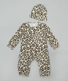 Take a look at this Leopard Playsuit & Beanie - Infant on zulily today!