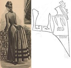 Der Bazar 1885: Misses' overdress from loden and pequin-velours.
