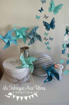 moulins à vent décoration chambre enfant bébé turquoise caraïbe pétrole blanc bleu canard