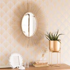 Miroir soleil en métal doré 61x75 - OVALO