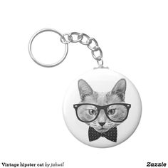 Vintage hipster cat keychain #cats #funnycats #hipster #lolcats