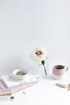 Feminine Desktop in Pink and White by Her Creative Studio on @creativemarket