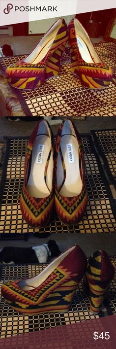 Steve Madden multi-colored Aztec wedges Brand new without box, never used. Aztec Tribal multi-colored fabric Steve Madden. Wedge heels. Steve Madden Shoes Wedges