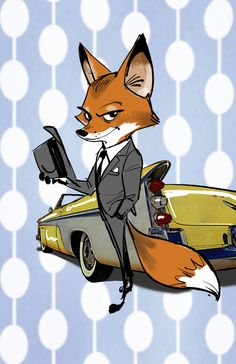 """I feel very lucky to have my name on the credit for this great movie""""Zootopia""""!These drawings are very early concepts I did almost 5 years ago when the movie was called""""Savage Seas"""". Nick Wilde was a 007 kind of character."""