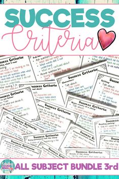 Success criteria is an effective tool to help your students understand and successfully complete the exact steps needed to meet their daily learning targets and objectives. Based on the third grade Common Core State Standards for all subject areas, these posters can be displayed on a focus wall or bulletin board in your classroom or reduced to a smaller size and used as a checklist by your students to keep track of their progress. Click the link to see what this is all about! #successcriteria