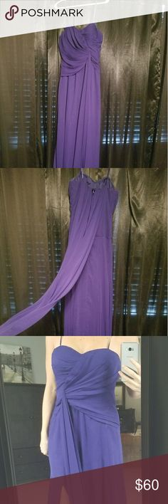 Adrianna Papell Hailey Formal gown Flowing , blue almost purple formal gown, worn once, size 10 but I'm a size 6 so it's very forgiving, can be worn with the strap or strapless Adrianna Papell Dresses Prom