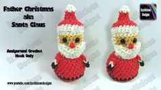 Rainbow Loom Santa Claus/Father Christmas Amigurumi Action Figure/Charm - Loom-less/Hook Only tutorial by Izzalicious Designs 2014