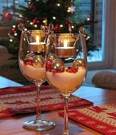 Christmas holiday candle in a wine glass decor