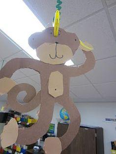 Monkeys.  Good thing that banana went on his head!  lol