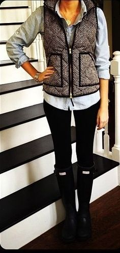 J Crew vest and Hunter boots.