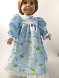 3 piece Frog Print Flannel Nightgown set for by NancysBigIdeas, $18.00