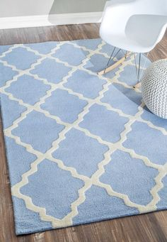 Nuloom MTVS27R-508 Varanas Collection Baby Blue Finish Hand Hooked Marrakech Trellis