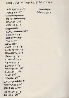 Bucket list of places to go...