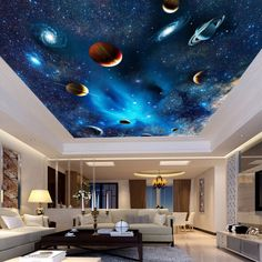 Adorable Tropical Wall Murals To Enter Summer In The Home - Interior Wall Murals Bedroom, Bedroom Ceiling, Bedroom Lighting, Mural Wall, Ceiling Lighting, Wallpaper Ceiling, Ceiling Murals, Modern Wallpaper, Home Wallpaper