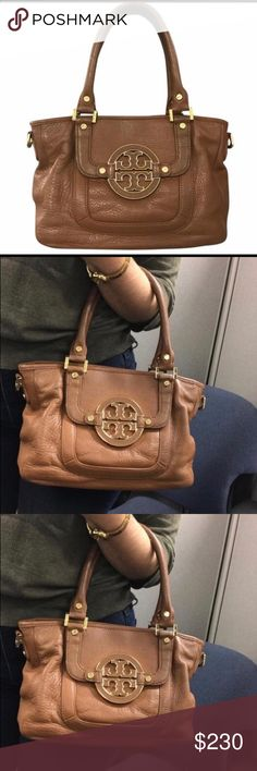 Tory Burch Purse Authentic Tory Burch Amanda Mini Satchel. Gently worn and very clean. Some signs of wear, see photos. Original dust bag included as well as Satchel strap to wear as a cross body. Perfect size for every day use! Height: 8in Length: 11in Depth: 4in. Leather with top zipper closure. Front pocket under logo flap. 6in drop. Tory Burch Bags