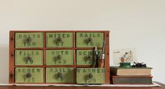 Multi Drawer Tool and Hardware Desk Organizer from Repurposed Vintage Cheese Boxes. $215.00, via Etsy.