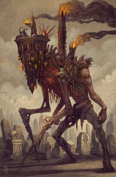 Echoes Of Fantasy — Grand Bonewalker by Sean Andrew. Monster Concept Art, Fantasy Monster, Monster Art, Dark Creatures, Fantasy Creatures, Creepy Art, Weird Art, Creature Concept Art, Creature Design