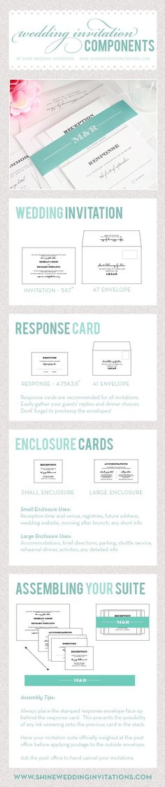 In general, a wedding invitation typically consists of several components, and here is a great guide to show you what they are! http://www.modwedding.com/2014/10/07/6-super-helpful-infographics-answer-questions-wedding-invitations/ #wedding #weddings #wedding_invitation