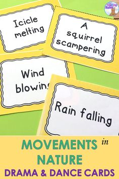 Teaching drama or dance? Use these 32 task cards of movements in the natural environment to create short dance phrases or as a game of charades.