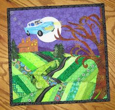 I love this mini art quilt made by flickr user FlossieBlossom. From the faux bois fabric that she used to make the whomping willow, to the perfectly executed flying Ford Anglia , to the little puff...